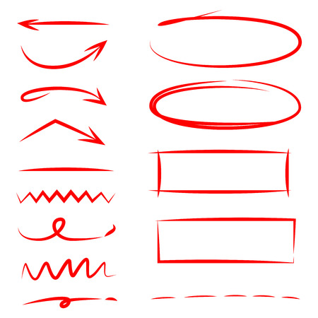 red hand drawn highlighter elements, arrows, underlines Stock Illustratie