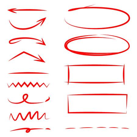 elementi di evidenziatore disegnati a mano rosso, frecce, sottolinea Vettoriali