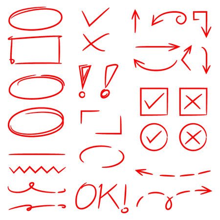 red hand drawn highlighter elements, arrows, check marks Stock Vector - 109849223