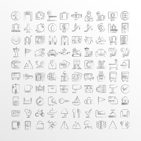 hand drawn airport and travel icons