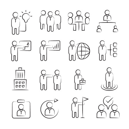 hand drawn business management concept icon set