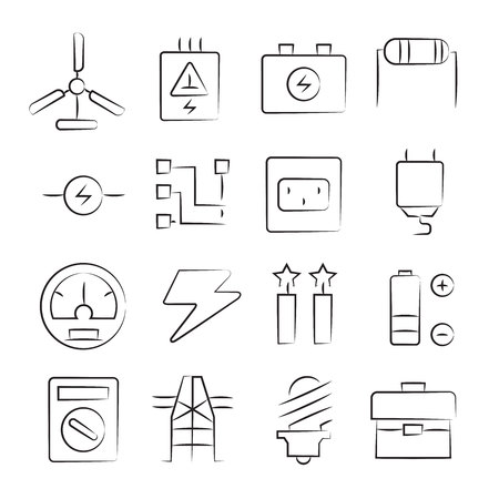 hand drawn electricity icon set