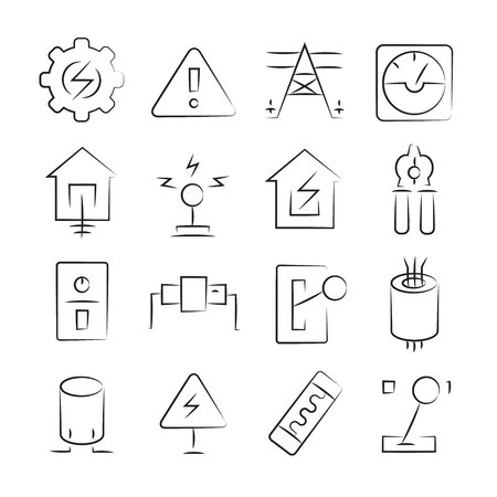 hand drawn electricity and tool icon set