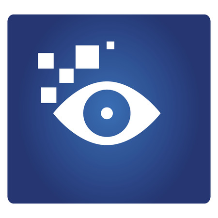 eye scan icon on blue background