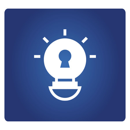 light bulb and keyhole icon in blue background