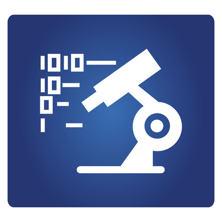 microscope and binary number for digital lab concept icon on a blue background Ilustração