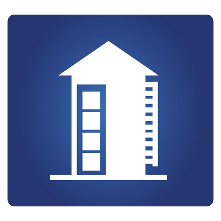 apartment icon on a blue background