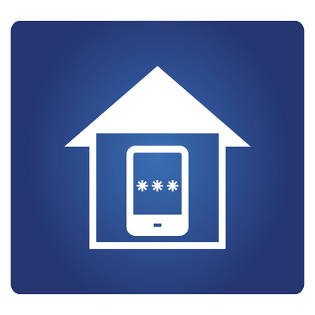 smart phone and password for house locking icon on a blue background