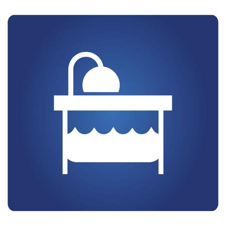 bathtub on blue background