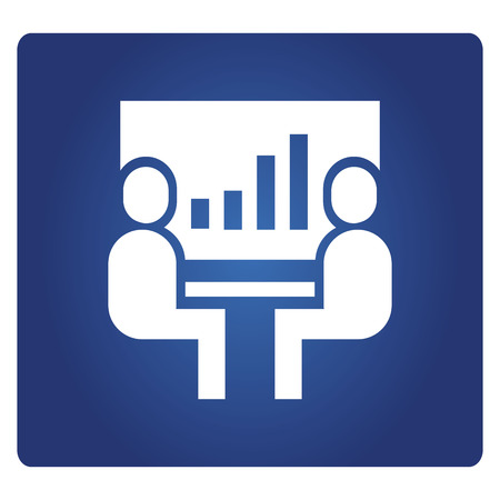 business people meeting bar chart with in blue background