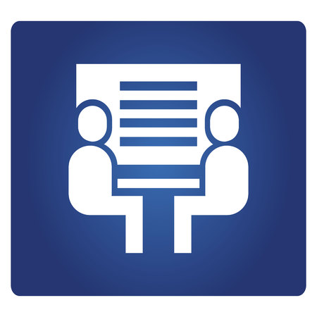 Geschäftsleute treffen sich mit Whiteboard in blauem Hintergrund Vektorgrafik