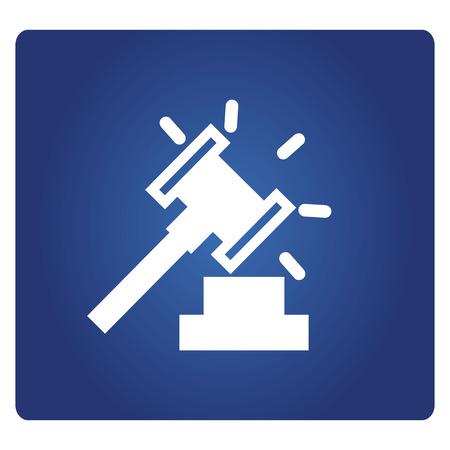 Hammer und Gebotssymbol in blauem Hintergrund