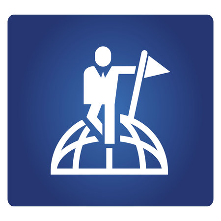 business people standing on globe and holding flag icon in blue background