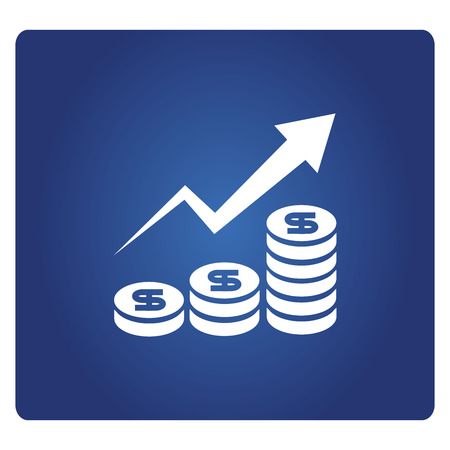 money and increasing graph icon in blue background