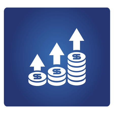 money and increasing  graph icon in blue background Illustration