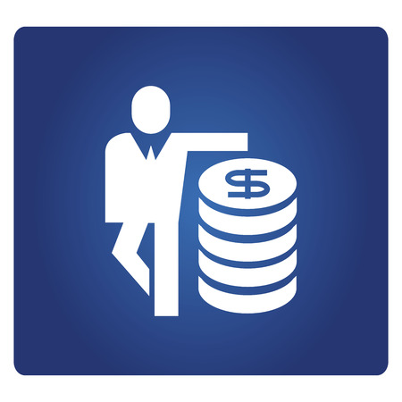 business people and money icon in blue background