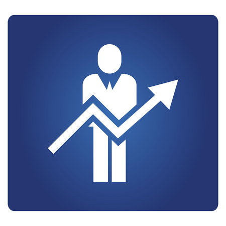 business people and arrow chart in blue background