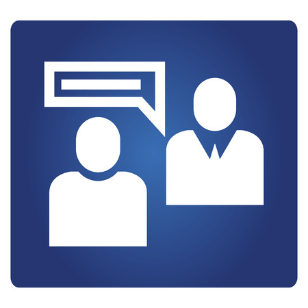 business people meeting icon in blue background Illustration