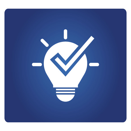 light bulb and check mark icon in blue background Иллюстрация