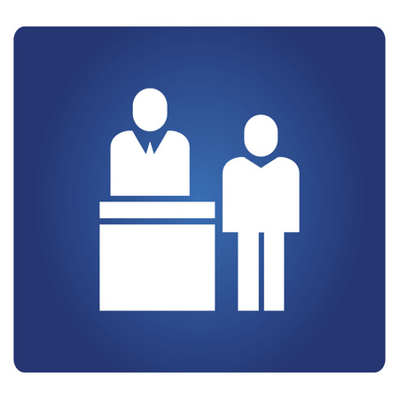 business people in reception icon in blue background