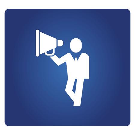 La gente de negocios y el icono de megáfono en fondo azul.