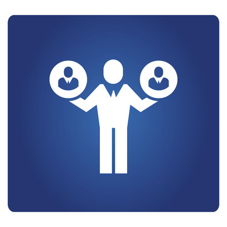 business people icon in blue background