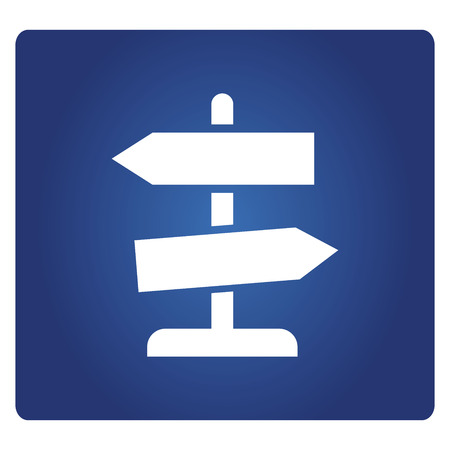 road signage icon in blue background