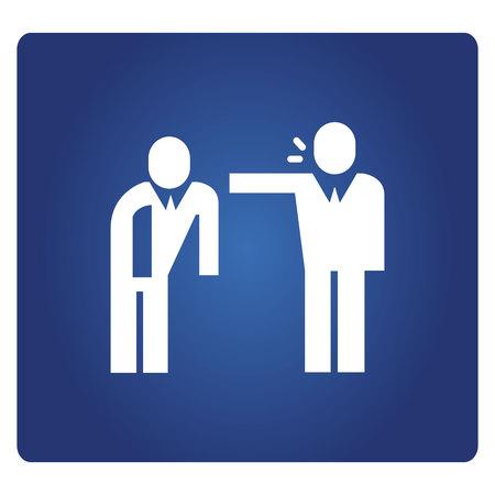 La gente de negocios se quejan icono de trabajador empresarial en fondo azul.