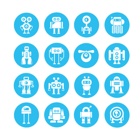 robot icon in blue circle button