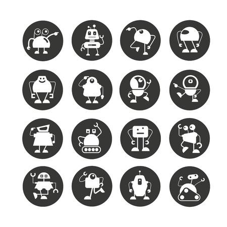 cartoon robot icon set in circle button