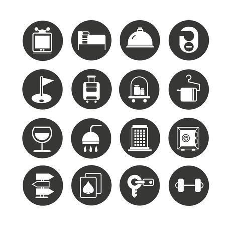 hotel icon set in circle button Vektoros illusztráció