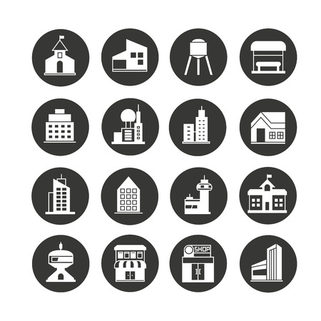 building icon set in circle button