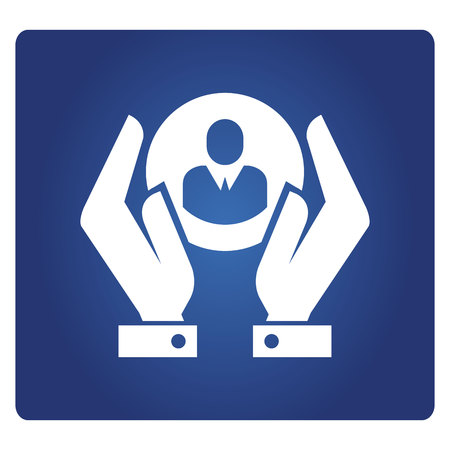 hand holding people icon in blue background
