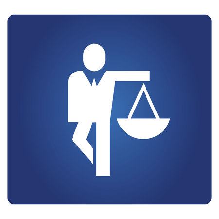 business man holding balance scale icon in blue background