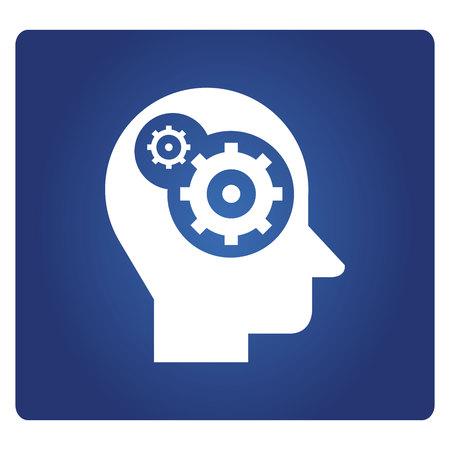 gear in human head icon in blue background