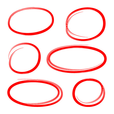 red hand drawn circle highlighters for marking text