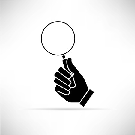 hand holding magnifier icon