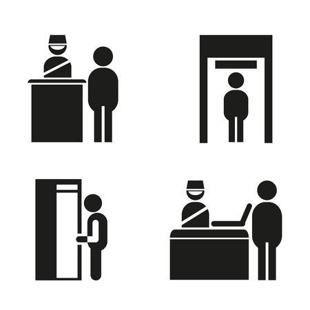 iconos de puesto de control de seguridad del aeropuerto
