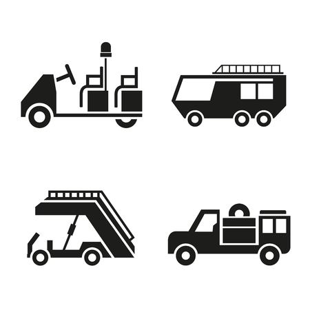 airport baggage car, airport truck icons