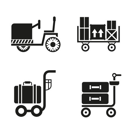airport trolley with blue suitcases icons