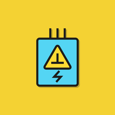 electric transformer, power supply icon on yellow background 向量圖像