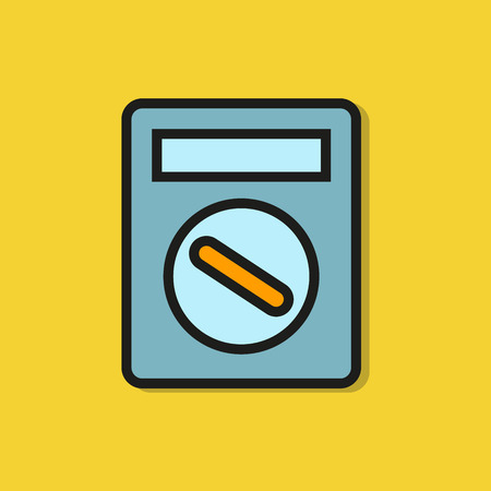 multimeter, volt meter icon on yellow background