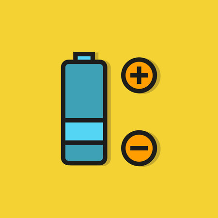 battery icon on yellow background Vettoriali