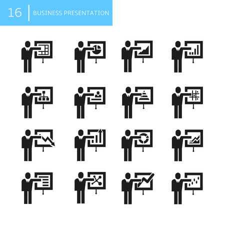 business people presentation icons
