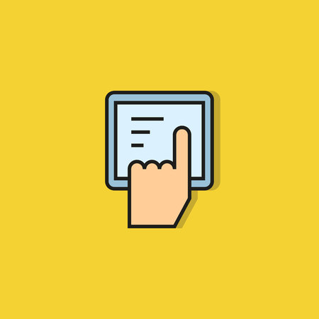 finger touching on tablet icon on yellow background