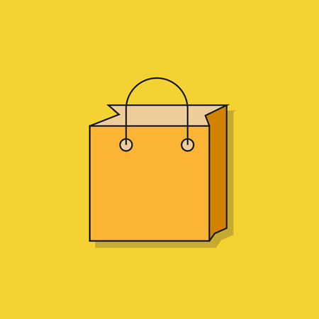 shopping bag icon on yellow background