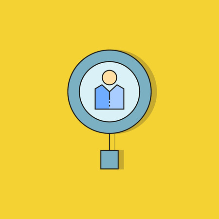 magnifier and people for human resource icon on yellow background