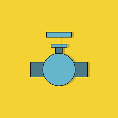 industrial valve icon on yellow background