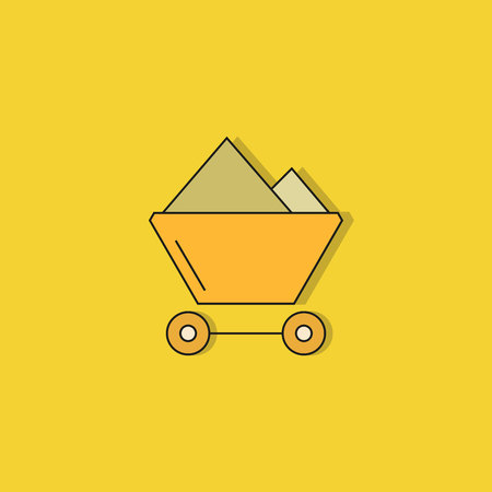 trolley on yellow background  イラスト・ベクター素材