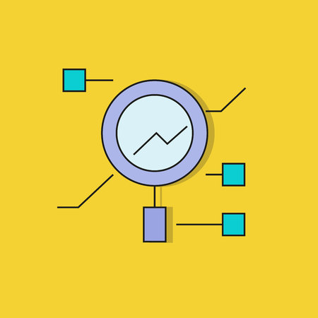 magnifier for data analysis icon on yellow background